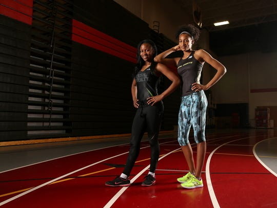 Rush Henrietta's Lanae-Tava Thomas (left) and teamamte