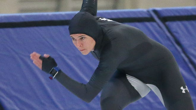 Brittany Bowe practices during U.S. Speedskating long-track workouts in September at the Pettit Center.