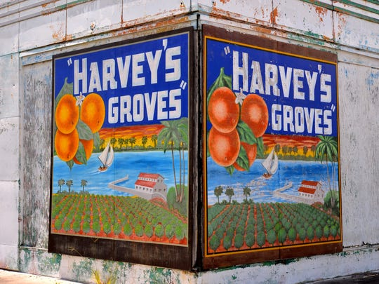 Mural for Harvey's Groves on the old service station across the street from the packing plant on US 1 in Rockledge.