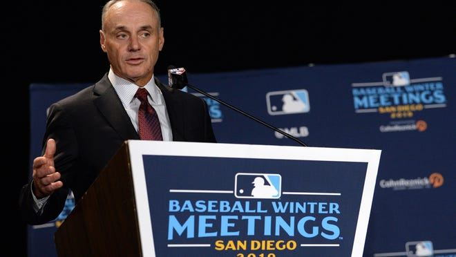 "MLB commissioner Rob Manfred, seen here at last December's Winter Meetings, said on Monday that ""there's real risk"" that there will be no baseball this season."