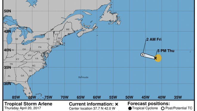 This graphic by the National Hurricane Center shows the projected path of Tropical Storm Arlene at 5 p.m. Thursday, April 20, 2017.