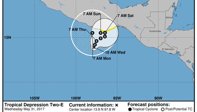 Tropical Depression Two-E, 11 a.m., May 31, 2017