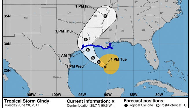 The National Hurricane Center has moved the projected path of Tropical Storm Cindy slightly to the west.
