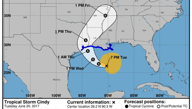 This graphic from the National Hurricane Center shows the projected path of Tropical Storm Cindy as of 8 p.m. Tuesday, June 20.