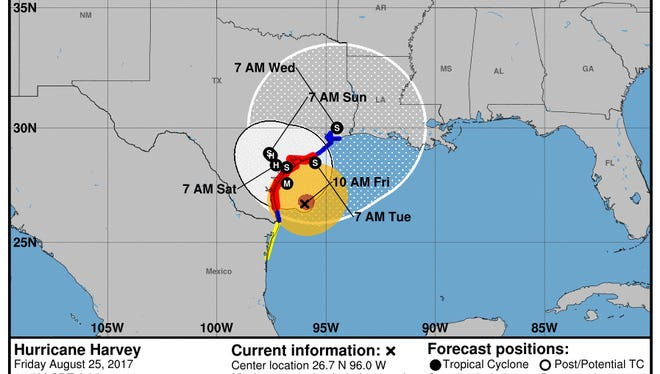 Hurricane Harvey's track as of 10 a.m. Friday.