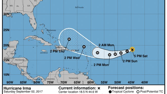 Irma moves steadily as a category 2 storm