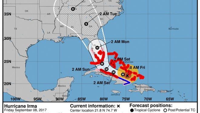 Forecast cone for Hurricane Irma as of 8 a.m. on Friday, Sept. 8, 2017.