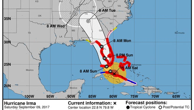 Forecast cone of Hurricane Irma as of 11 a.m. on Saturday, Sept. 9, 2017.