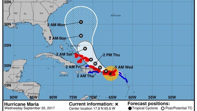 Maria makes first landfall in Puerto Rico at Cat. 4.