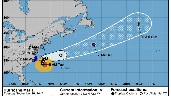 Maria's projected path, 8 a.m. Tuesday update.