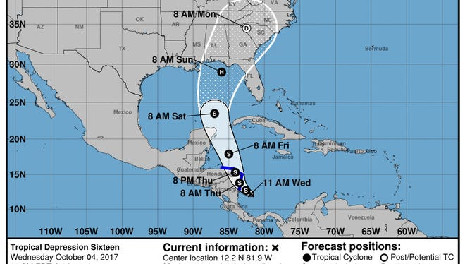 Forecasters expect a tropical depression to strengthen into Hurricane Nate and threaten the Gulf Coast by the weekend.
