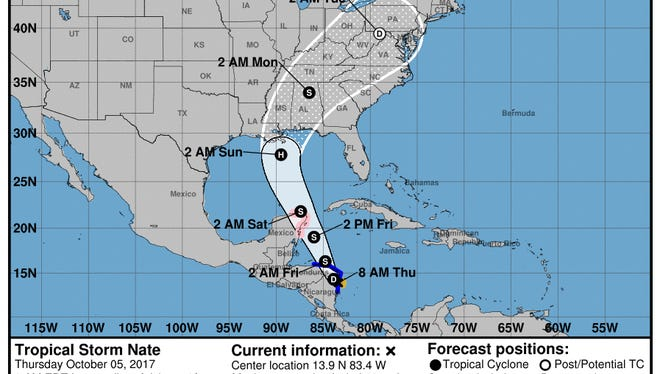 Tropical Storm Nate's projected path on Thursday, Oct. 5, 2017