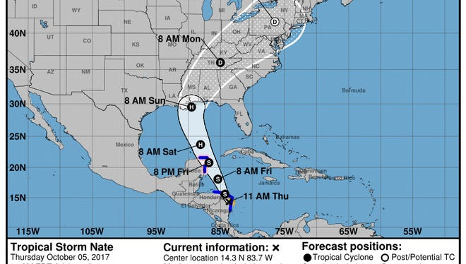 Tropical Storm Nate advisory from National Hurricane Center as of 11 a.m. Thursday