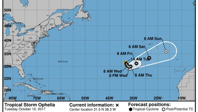 11 a.m. advisory for Tropical Storm Ophelia.