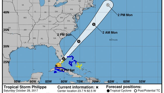 Tropical Storm Philippe 8 p.m. Oct. 28, 2017.