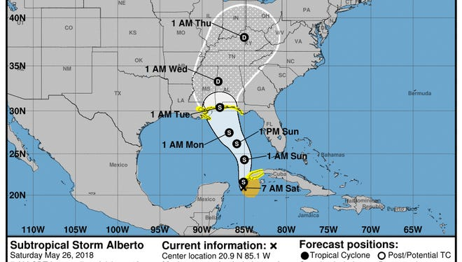 The National Hurricane Center's forecast zone for Subtropical Storm Alberto, as of 7 a.m. Saturday.