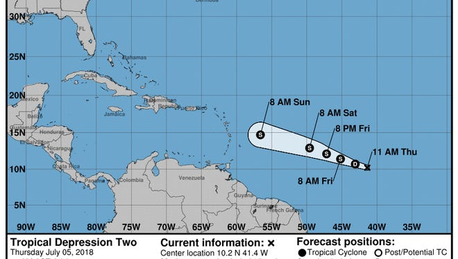 Tropical Depression Two formed in the Atlantic on Thursday, July 5, 2018.