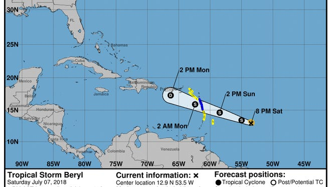 8 p.m. forecast track for Tropical Storm Beryl on Saturday, July 7, 2018.
