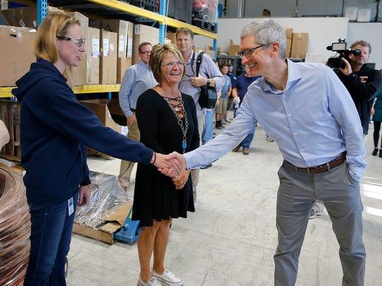 Apple CEO Tim Cook meets employees at Cincinnati Test