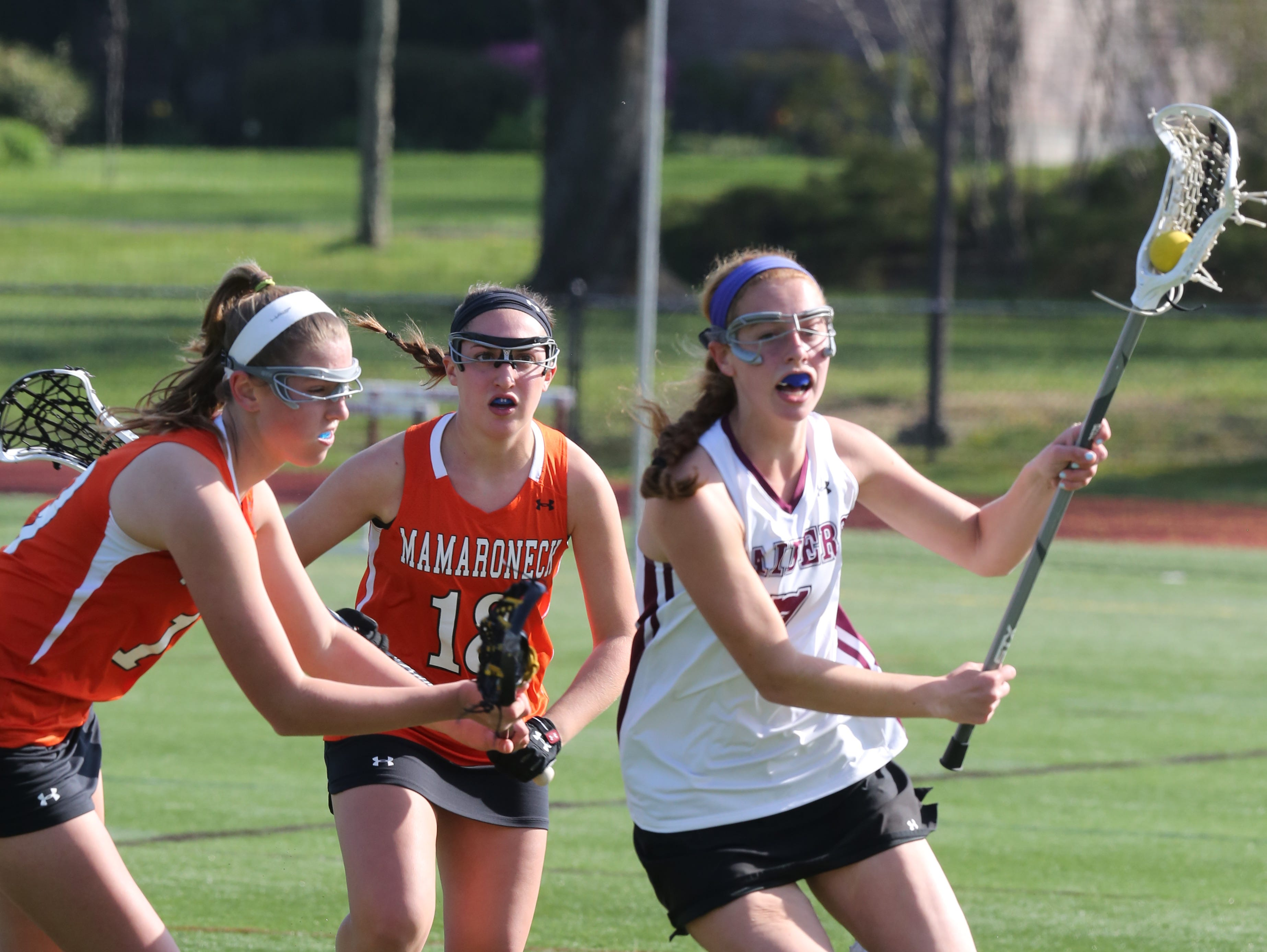 Mamaroneck defeats Scarsdale 9-7 during girls lacrosse game at Scarsdale High School on April 27, 2016.