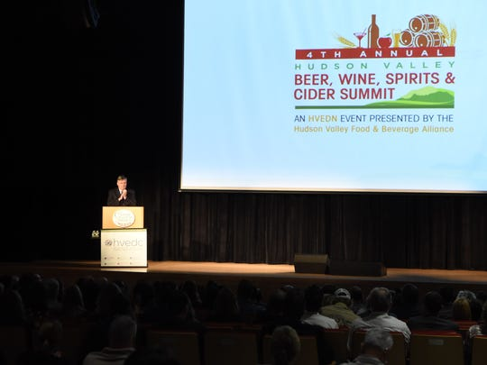Dr. Tim Ryan, president of the Culinary Institute of America, addresses the audience at the beginning of the Hudson Valley Beer, Wine, Spirits, and Cider Summit held on the school's campus in Hyde Park.