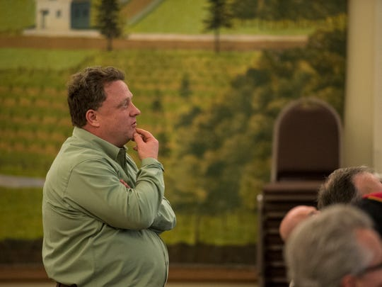 John B. Wengert, president Friends of Lebanon Valley Rail Trail, asks a question as the Lebanon Valley Conservancy and Friends of the Lebanon Valley Rail Trail hosted a meeting at HACC's Lebanon campus on Thursday, March 30, 2017. The meeting was held to gather public input for a proposed park -- Wengert Memorial Park -- in the 1600 block of Chestnut Street.