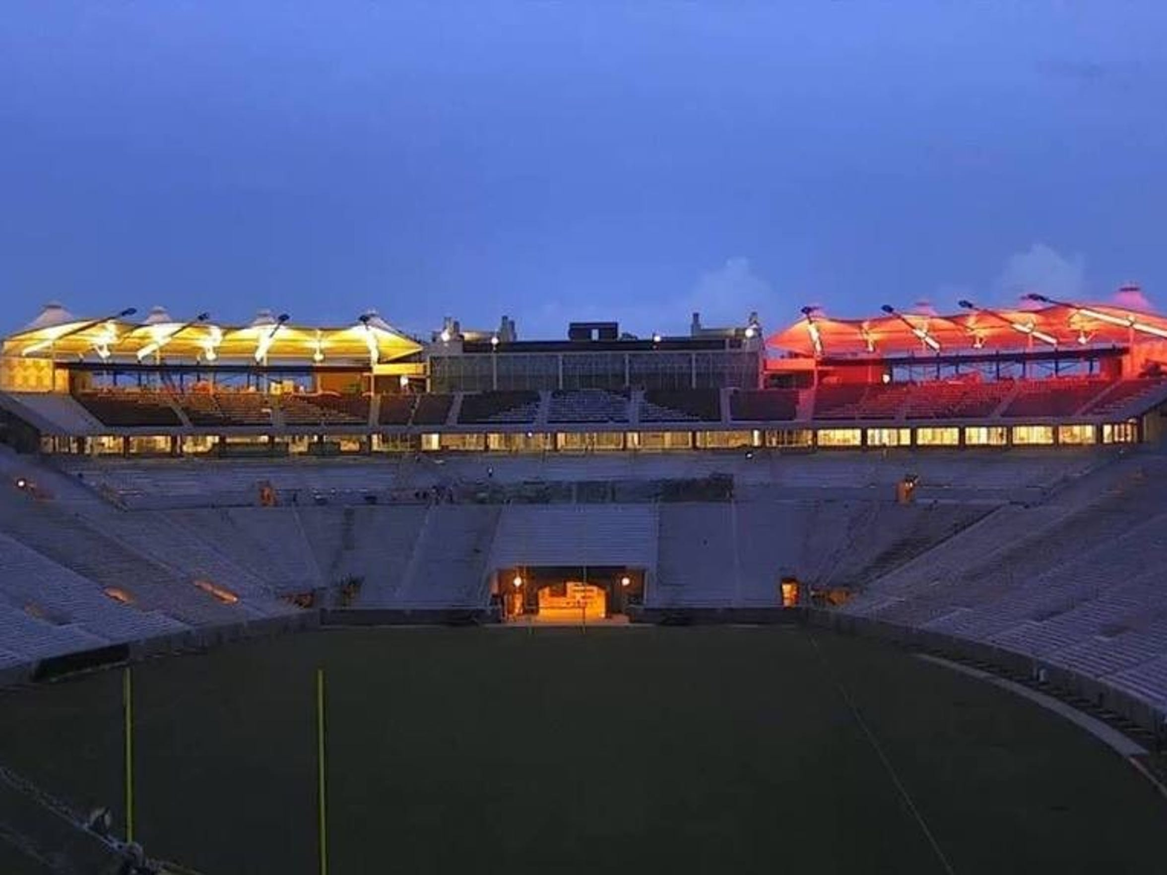 The canopy atop Champions Club seating in Doak Campbell Stadium will light up.