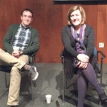 Writers Allen Rossi and Bryn Chancellor participate in a panel discussion during a monthly meeting of The Writing Show, held at the Spartanburg County Library.
