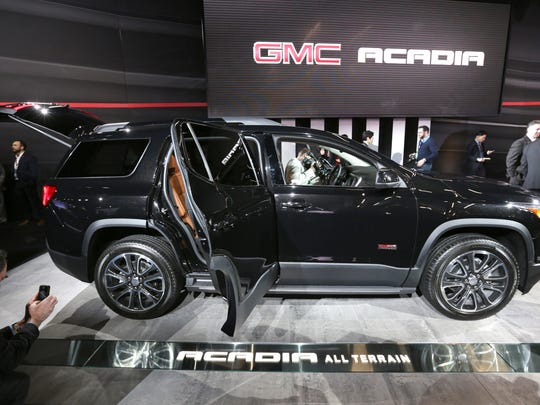 The 2017 GMC Acadia All Terrain is introduced during the 2016 North American International Auto Show held at Cobo Center in downtown Detroit on Tuesday, Jan. 12, 2016. Romain Blanquart/ Detroit Free Press