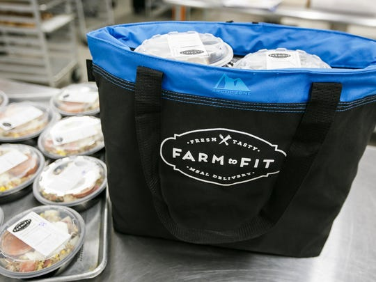 A delivery bag full of orders is ready to go at Farm to Fit on Saturday, Sept. 17, 2016, in Portland. Once prepared, meals are packed into cooler bags and delivered to customers and pick-up locations in Portland, Vancouver and Salem.