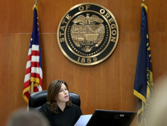 Judge Tracy Prall presides over the sentencing hearing