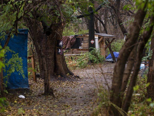 """A homeless campsite once known as """"tent city,"""" near"""