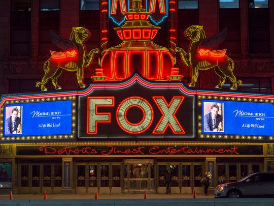 Michael Ilitch is remembered on the marquee of the Fox Theater on Friday, Feb. 10, 2017 in downtown Detroit.