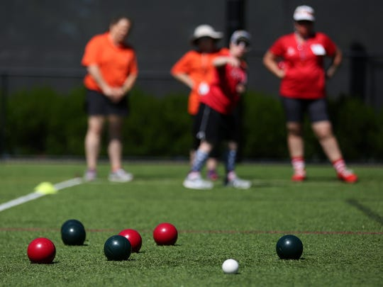 A bocce ball competition in the Special Olympics Oregon