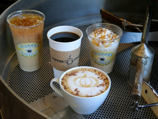 Coffee drinks at Red Bank's Coffee Corral include (clockwise from left) iced autumn cold brew, a pour-over Columbian coffee, a pumpkin spice milkshake made with vanilla gelato and autumn brew, and a pumpkin spice latte.