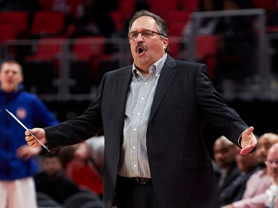 Pistons coach Stan Van Gundy reacts to a play in the