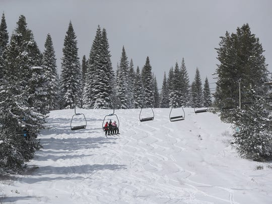 Skiers and snowboarders enjoy recent snow at the Mt. Shasta Ski Park.