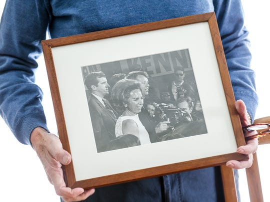 Mike Riley, chairman of the 1968 Robert F. Kennedy Campaign in Indiana holds a photo of himself with Kennedy and Mrs. Kennedy taken by Art Harris for The Indianapolis News, on the night of 1968 Presidential Primary election during a press conference at The Lincoln Hotel in Indianapolis, Sunday, March 25, 2018.