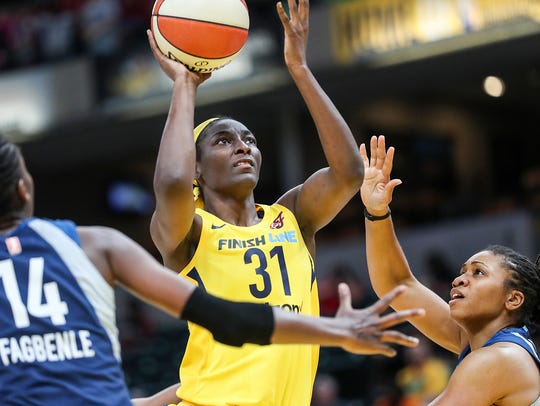 Center, Indiana Fever forward Asia Taylor (31) shoots