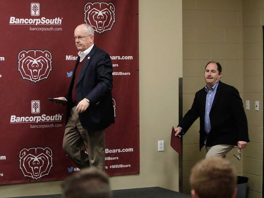 MSU President Clif Smart and Athletic Director Kyle Moats announced that MSU Head basketball Coach Paul Lusk's contract had been cancelled. Smart and Moats arrive at the press conference.