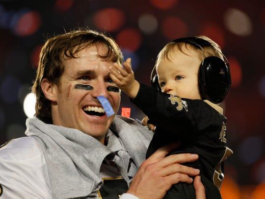 New Orleans Saints quarterback Drew Brees (9) with