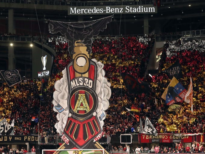 Dec. 8, 2018: A train tifo is unveiled prior to the