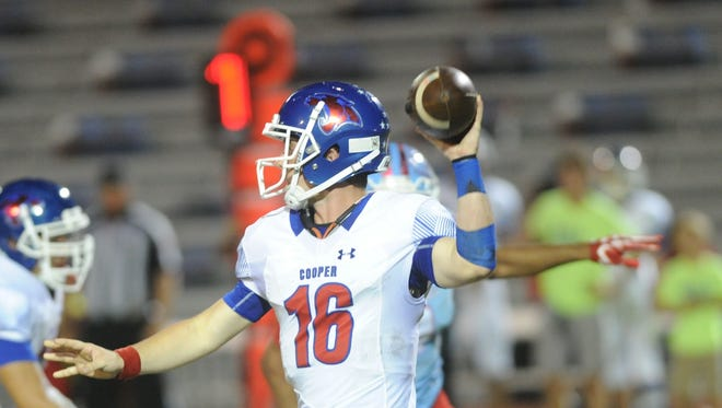 Cooper quarterback Ender Freeman (16) gets ready to throw a pass in the first half against Lubbock Monterey. Monterey won the District 4-5A opener Friday, Oct. 13, 2017 at Lowrey Field in Lubbock.