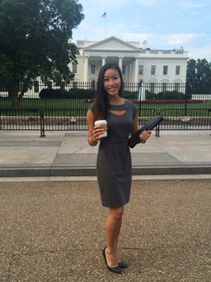 Binh Nguyen, a 2013 graduate from Lebanon High School, poses in front of the White House in 2015 while there as a Temple University student attending the National Campus Leaders Council Summit.