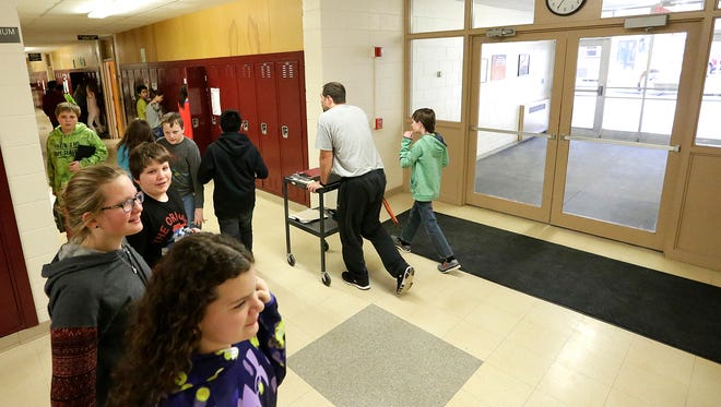 A classroom adjacent to the main entrance at Bessie Allen Middle School will become the new office if a referendum is voted in for the North Fond du Lac School District this spring.