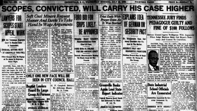 The front page of The Greenville News on July 22, 1925.