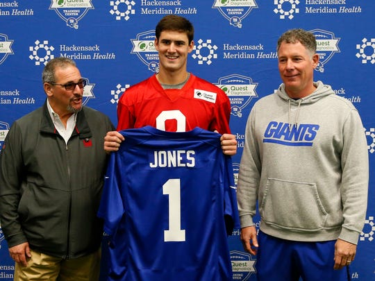 May 3, 2019; East Rutherford, NJ, USA;    New York Giants general manager Dave Gettleman rookie quarterback Daniel Jones (8) and head coach Pat Shurmur during rookie minicamp at Quest Diagnostic Training Center. Mandatory Credit: Noah K. Murray-USA TODAY Sports