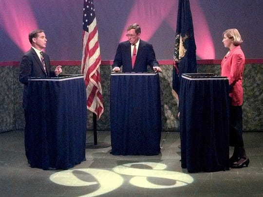 Gov. Howard Dean, left, Marselis Parsons and challenger Ruth Dwyer at a WCAX debate in 1998.