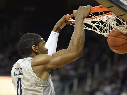 Nevada's Cameron Oliver dunks against Eastern Washington in the first half of the CBI quarterfinals at Lawlor Events Center on Monday.