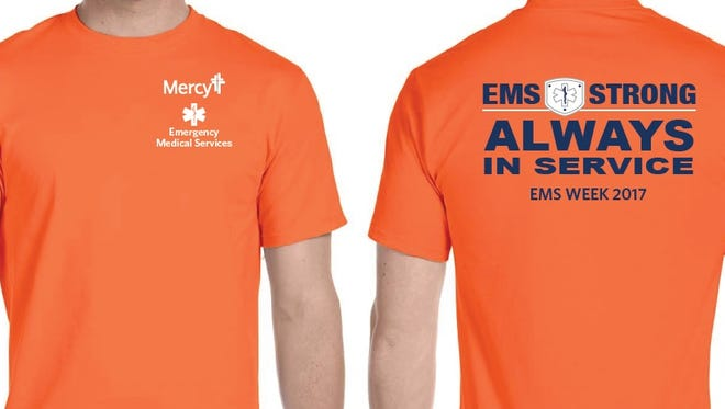 Mercy first responders will wear the orange shirts in honor of National EMS Week, which started on Sunday.